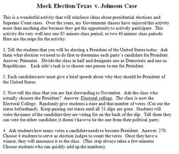 Presidential Election/Texas v. Johnson Case Simulation