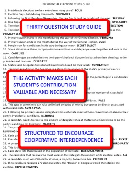 Presidential Elections: Interdependent Answer Sheets Activity