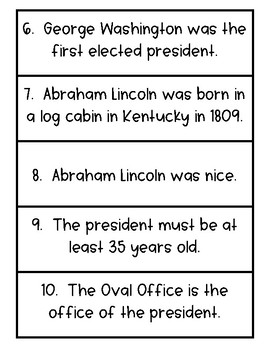Presidential Fact and Opinion - 2 Sets of 15 - Free Temporarily