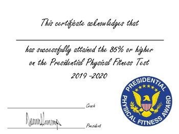 Presidential Fitness Certificate
