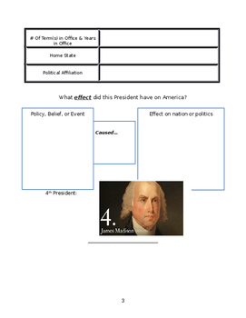 Presidential Graphic Organizer