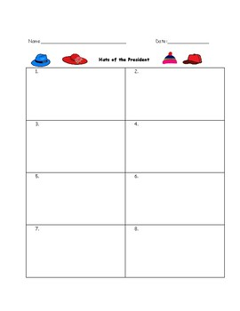 Presidential Hats Worksheet: Graphic Organizer and Answer Key