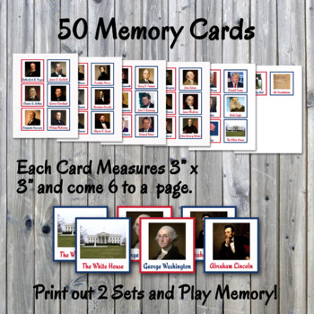 Presidential Memory Game - Includes Different 48 Cards - Printable