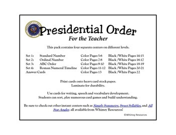 Presidential Orders, Ordinal, Roman, Numerals, Numbers, ABC, President