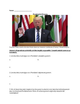 Presidential Powers – Short Answer & Identification Worksheet