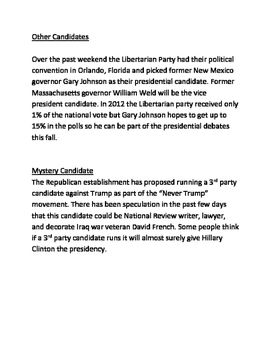 Presidential Primary Update - Lesson June 1st Republican Democratic Libertarian
