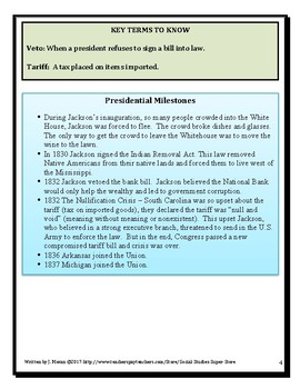Presidential Profiles Andrew Jackson Elementary and Middle School