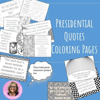 Presidential Quotes Coloring Pages: Mini Posters