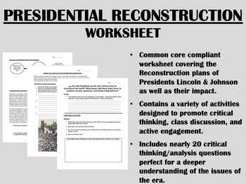 presidential reconstruction worksheet civil war us history common core. Black Bedroom Furniture Sets. Home Design Ideas