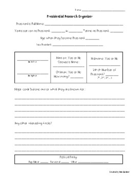 Presidential Research Report Organizer and Final Copy Paper