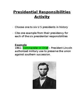 US Presidential Responsibilities Activity