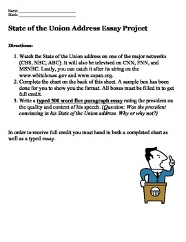 Presidential State of the Union Essay Project with Graphic Organizer
