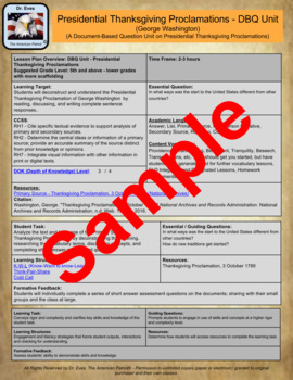 Presidential Thanksgiving Proclamation Washington DBQ Unit (PDF for handouts)