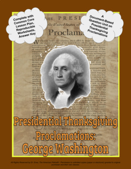 Presidential Thanksgiving Proclamation Washington DBQ Unit