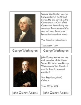 Presidential Three Part Cards (Timeline)