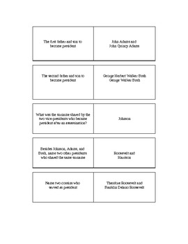 Presidential Trivia Game and Info Sheet