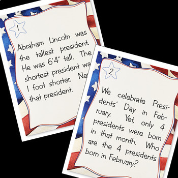PRESIDENTS' DAY TASK CARDS: Research, History, Presidents' Day Activities