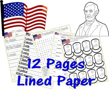 President United States Worksheets : Vocabulary Spelling Journal Fun LINED PAPER