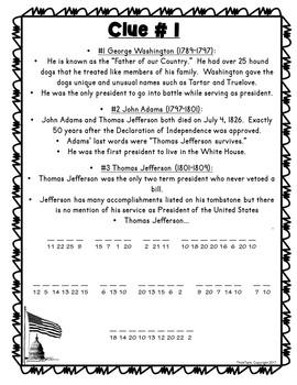 Presidents 1-12 FUN FACTS ESCAPE ROOM: President's Day, Washington, Adams