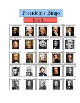 Presidents 1 - 25 Bingo - 5 Boards visuals - president list