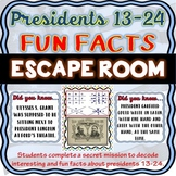 Presidents 13-24 FUN FACTS ESCAPE ROOM: President's Day, Lincoln, Cleveland