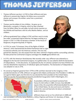 Presidents - Informational Text Passages and Comprehension Questions