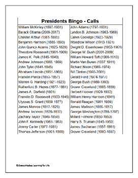 Presidents Bingo (Class Set)