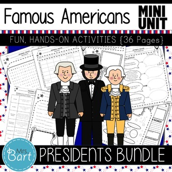 Presidents Bundle- NO PREP Mini Units {Lincoln, Washington, Jefferson}