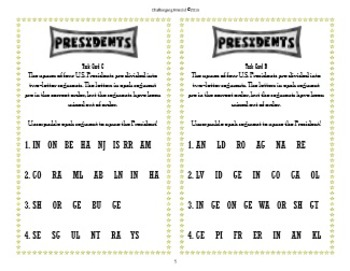 Presidents Challenge Activity: 4 Task Card Puzzles (Set 1)