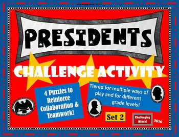 Presidents Challenge Activity: 4 Task Card Puzzles (Set 2)