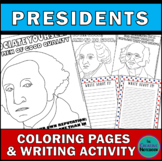 Presidents Coloring Pages with Growth Mindset Quotes + Writing Activity