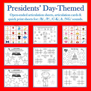 Presidents' Day Speech, Receptive Language & Articulation Packet