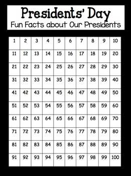 Presidents' Day 100's Chart Activity Fun Presidential Facts TOTALLY ELEMENTARY