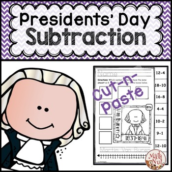 """Presidents Day Math """"Subtraction Practice"""""""