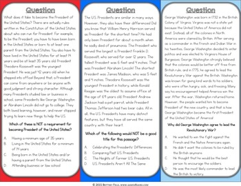 Presidents Day Activity: Presidents Day Reading Game