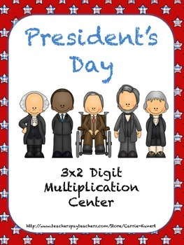 President's Day 3x2 Digit Common Core Multiplication Center
