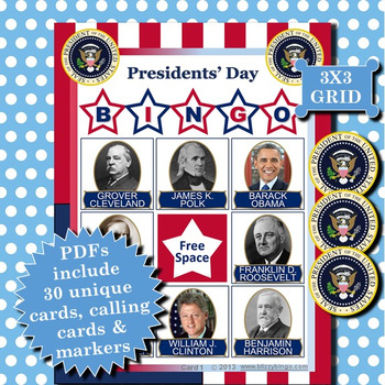 Presidents' Day 3x3 Bingo 30 Cards