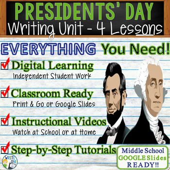 Presidents' Day Writing BUNDLE! - Argumentative Persuasive Expository Narrative