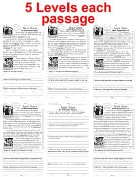 Presidents Day 7 Passages 5 levels each Differentiated Close Read PRINT-N-GO!