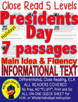 Presidents Day 7 Passages 5 levels each Differentiated Clo