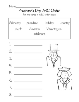 President's Day ABC Order Worksheet by Teacher Gone Digital | TpT