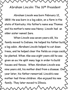 President's Day: Abraham Lincoln Reading and Comprehension