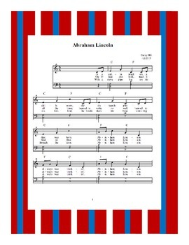 President's Day Abraham Lincoln Sheet Music