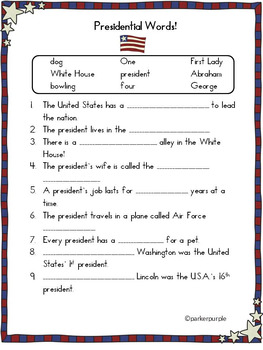 President's Day Activities first, second, third grade