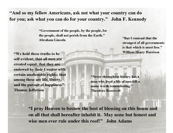 President's Day Activities mini-poster with Presidential Quotes