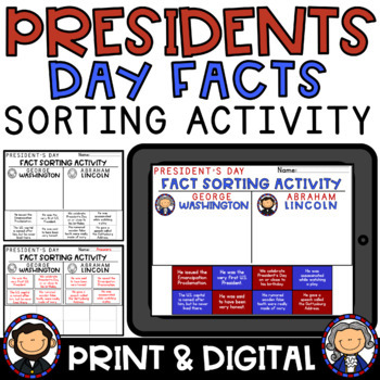Presidents Day Activity George Washington and Abraham Lincoln Facts Sorting