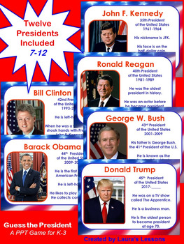 Presidents Day Lesson Activity:  Guess the Presidents PowerPoint Game for K-3