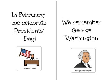 Presidents' Day-Adapted Book for Students with Disabilities