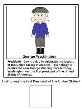 Presidents' Day Adapted/Interactive Book