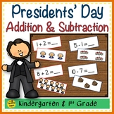 Presidents' Day Add & Subtract 0-10 Number Sentence Match